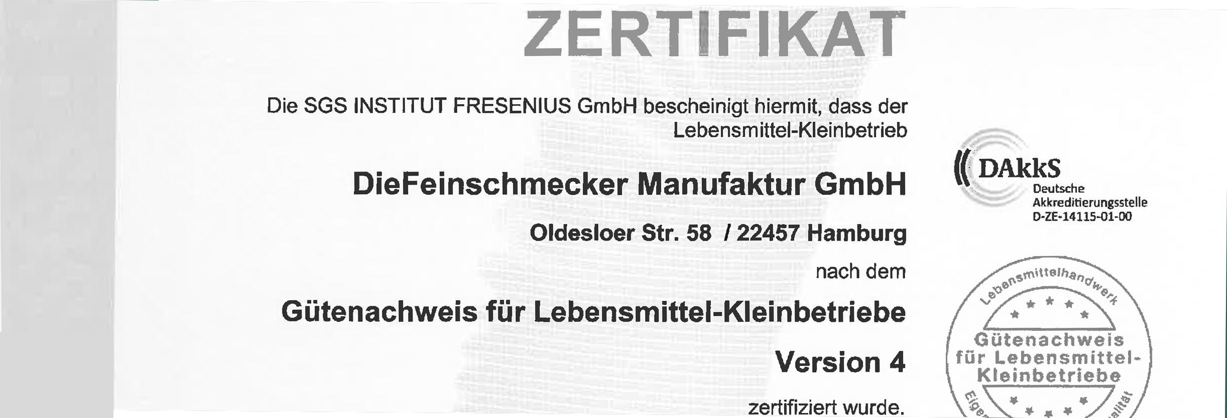 GLK Zertifizierung für DieFeinschmecker